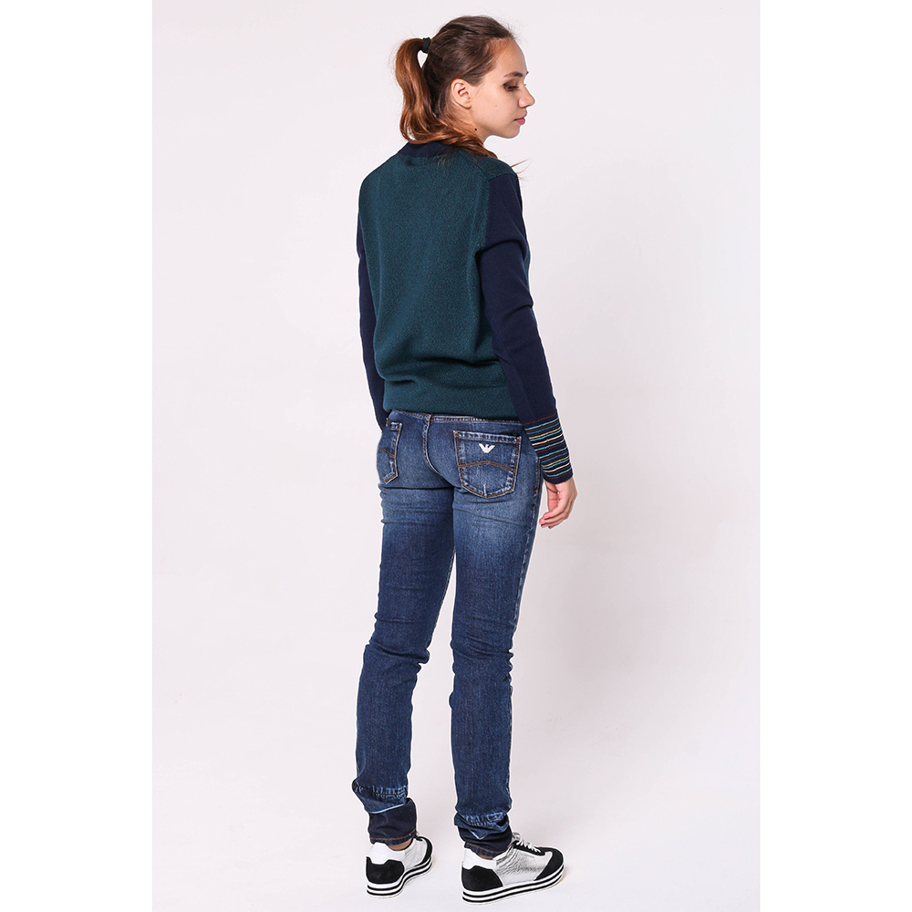 Прямые джинсы Emporio Armani синего цвета