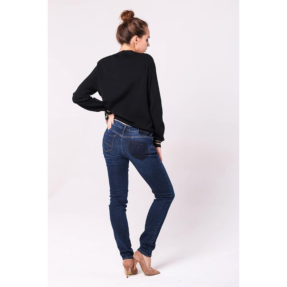 Узкие синие джинсы Emporio Armani с низкой посадкой