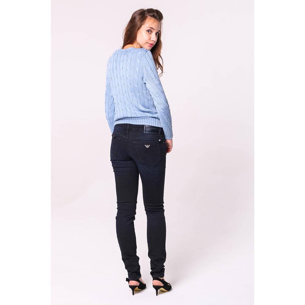 Узкие джинсы Emporio Armani темно-синего цвета