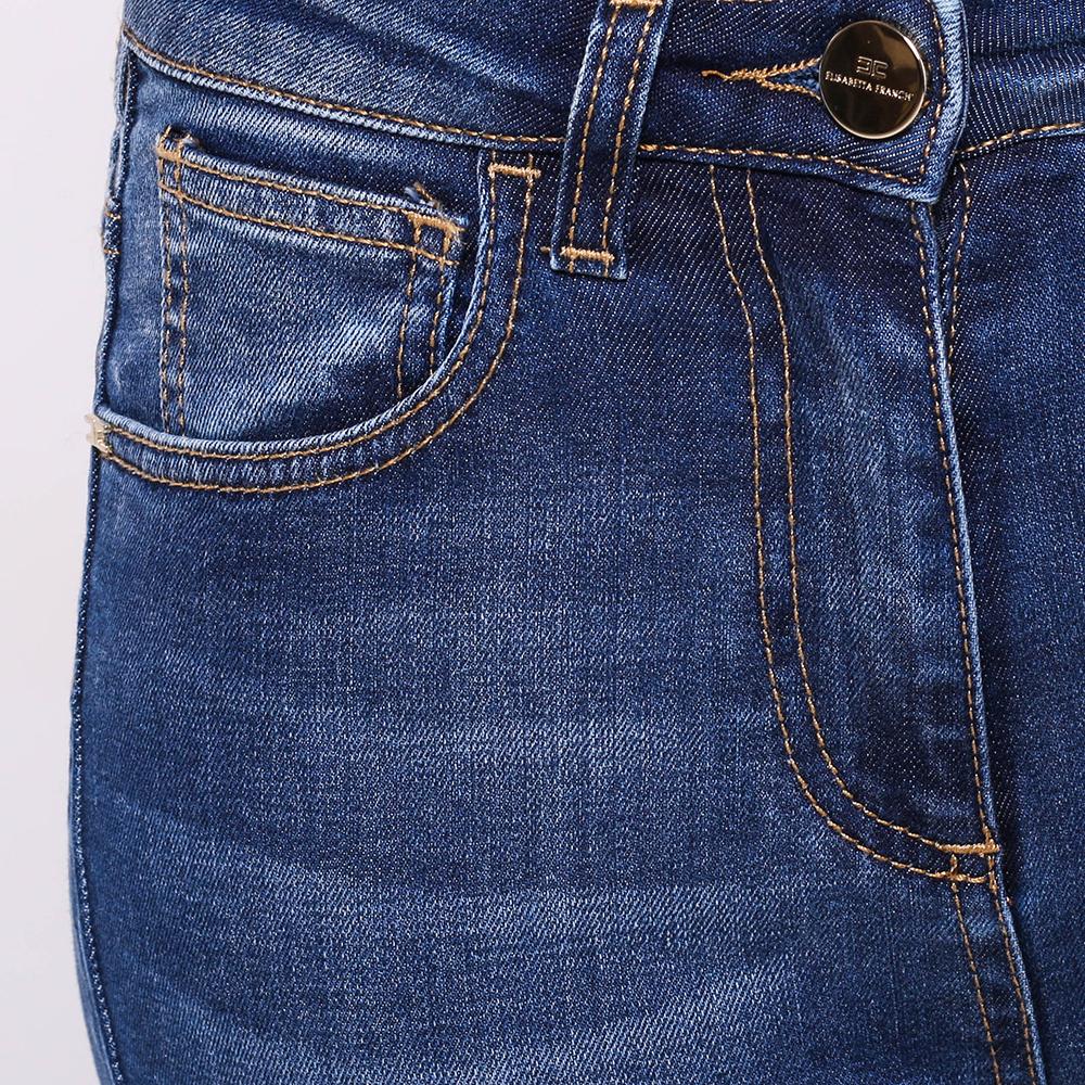 Синие джинсы Elisabetta Franchi с потертостями