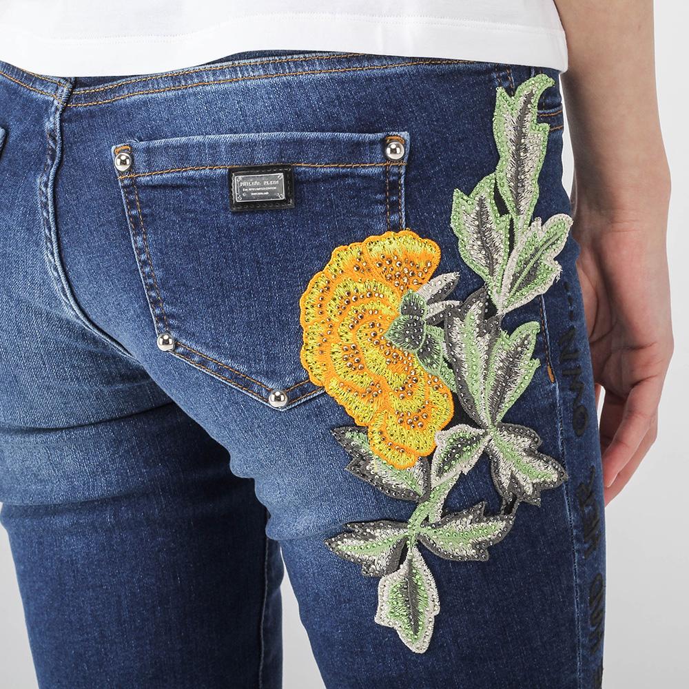 Узкие джинсы Philipp Plein с флористической вышивкой