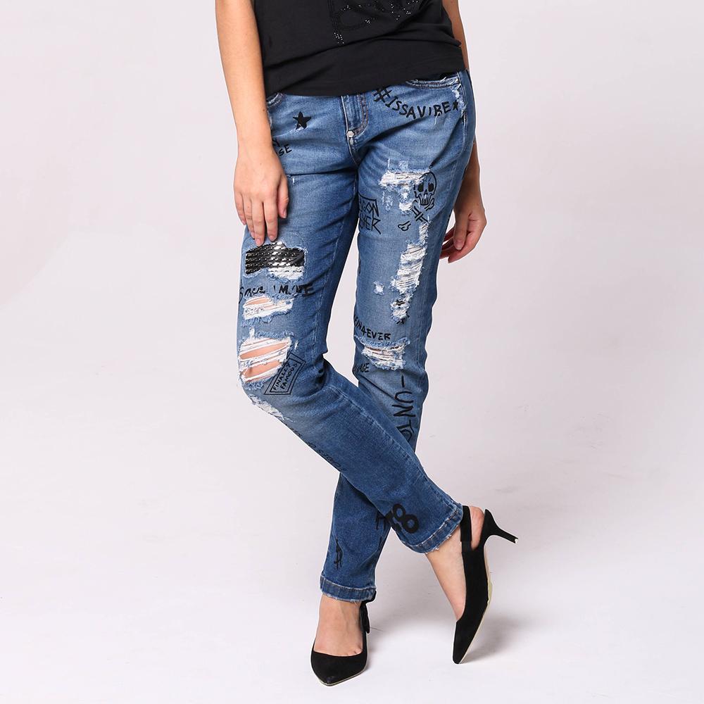 Голубые джинсы Philipp Plein с надписями