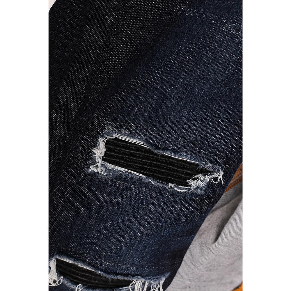 Рваные узкие джинсы Philipp Plein темно-синего цвета