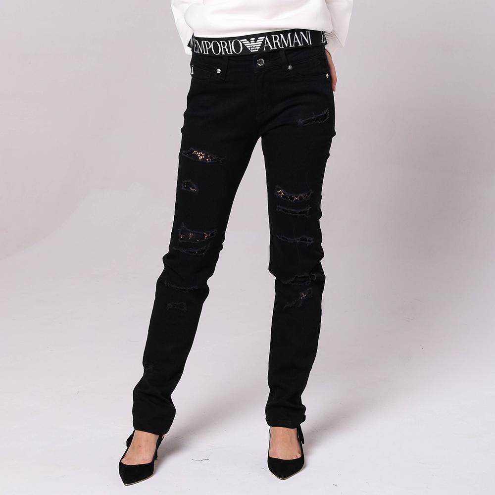 Рваные черные джинсы Love Moschino с кружевом