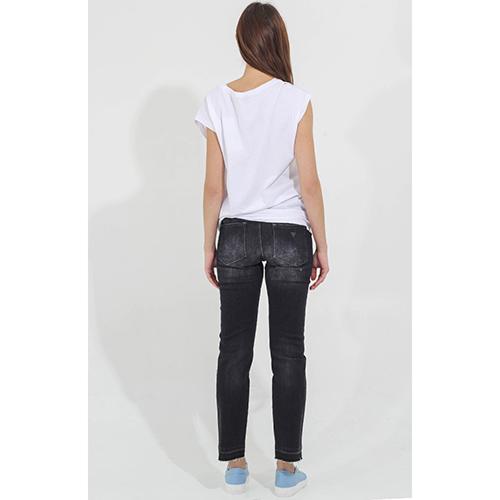 Черные прямые джинсы Guess с прорезами на коленях, фото