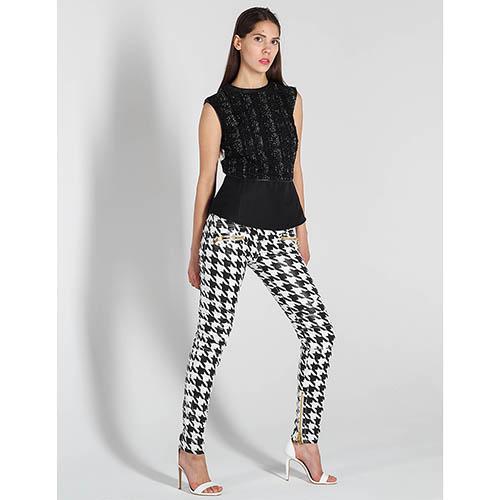 Зауженные черно-белые джинсы Balmain, фото