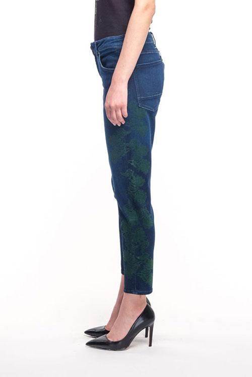 Укороченные джинсы Bogner Florinda с зеленым цветочным принтом, фото