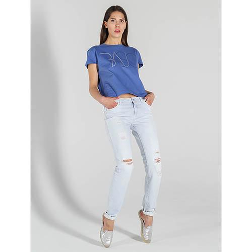 Рваные прямые джинсы Trussardi Jeans голубого цвета, фото