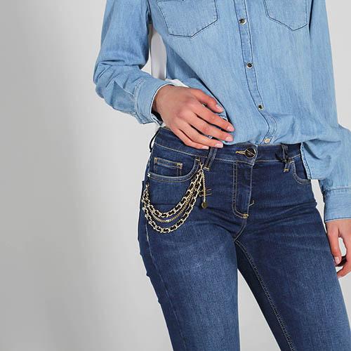 Джинсы-скинни Elisabetta Franchi синего цвета с цепочками, фото