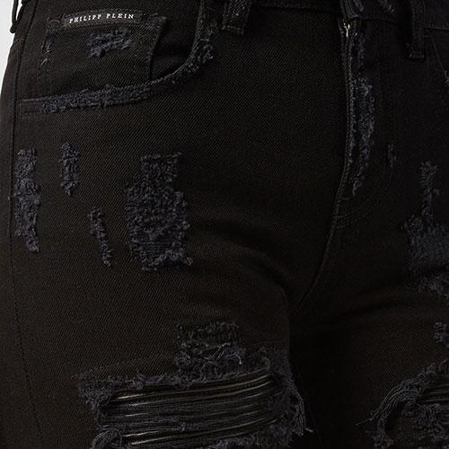 Черные джинсы Philipp Plein рваные, фото