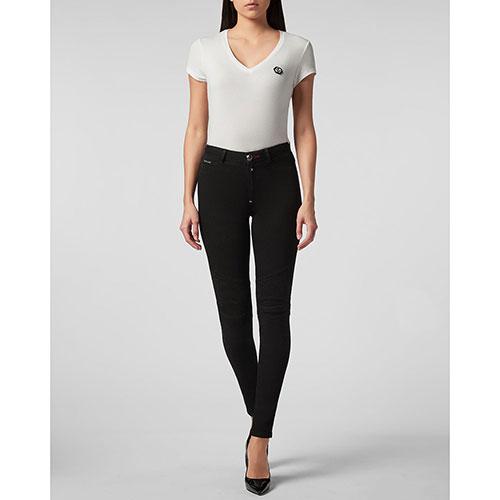 Черные джинсы Philipp Plein с рельефными швами, фото