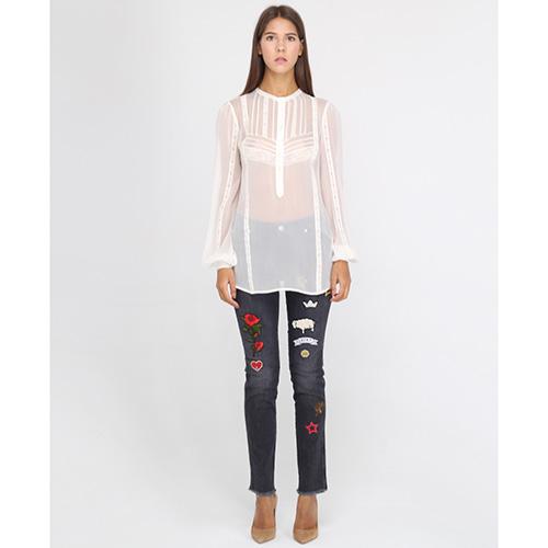 Серые узкие джинсы Ermanno Ermanno Scervino с цветными нашивками, фото