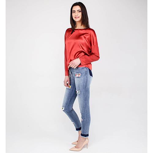 Светлые узкие джинсы Blumarine с яркими вставками, фото