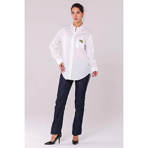 Прямые джинсы Red Valentino темно-синего цвета с лампасами, фото