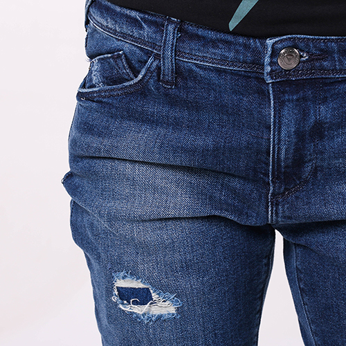 Рваные джинсы Emporio Armani синего цвета, фото
