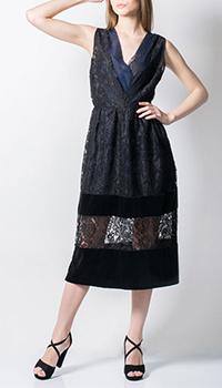 Кружевное платье Tensione in с синей вставкой, фото