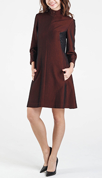 Бордовое платье Shako с длинным рукавом на молнии, фото