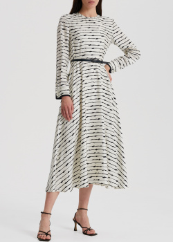 Черно-белое платье Max Mara Gattini с тонким поясом, фото