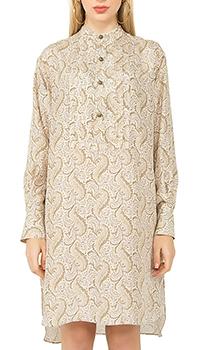 Платье-рубашка Etro из шелка с растительным орнаментом, фото