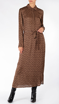 Коричневое платье-рубашка Weill с геометрическим узором, фото