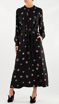 Черное длинное платье Weill с узором, фото