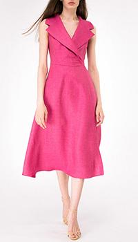 Платье на запах Shako из льна цвета маджента, фото