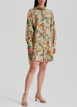 Бежевое платье-рубашка Etro с анималистическим принтом, фото