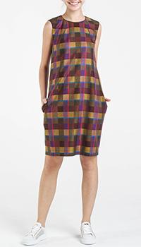 Коричневое платье Shako в клетку с молнией на спине, фото