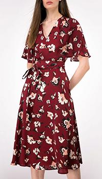 Платье-миди Shako цвета марсала с принтом, фото