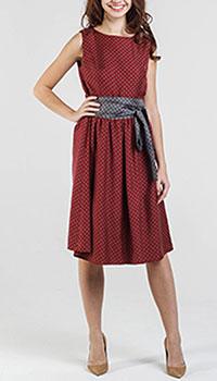 Бордовое платье Shako до колен под пояс, фото
