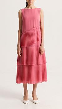 Длинное розовое платье Shako с плиссированными вставками, фото