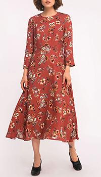Красное платье-миди Shako с цветочным принтом, фото