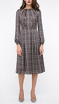 Серое платье Shako миди с длинным рукавом, фото
