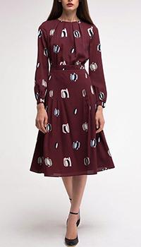 Платье марсаловое Shako с вшитым поясом, фото
