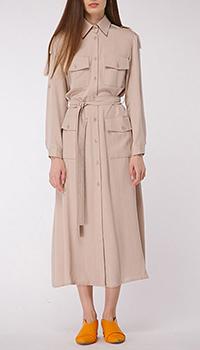 Платье-сафари Shako серо-бежевого цвета, фото