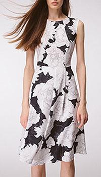 Приталенное платье Shako чёрное в пионы, фото