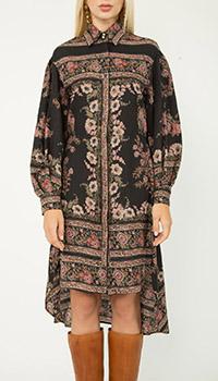 Черное платье-рубашка Etro с цветочным принтом, фото