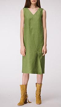 Льняное платье Shako прямого кроя зеленого цвета, фото