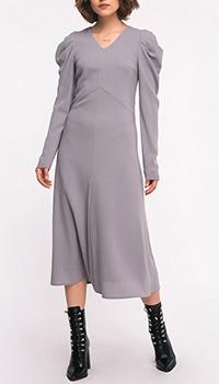 Шерстяное платье-миди Shako серого цвета, фото
