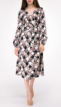 Платье на запах Shako с принтом-ромбы, фото