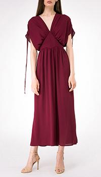 Бордовое платье Shako с треугольным вырезом на спине, фото