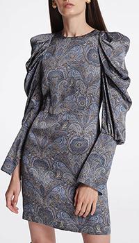 Сине-коричневое платье Shako с принтом, фото