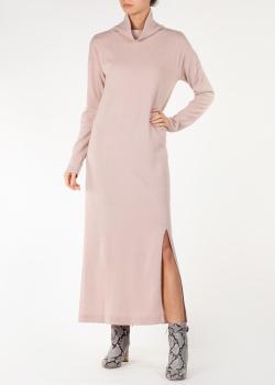 Розовое трикотажное платье Allude с разрезом, фото