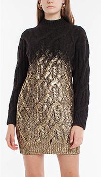 Вязаное черное платье Pinko с эффектом позолоты, фото