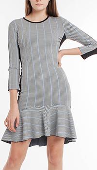 Платье в клетку Pinko с пышной оборкой, фото