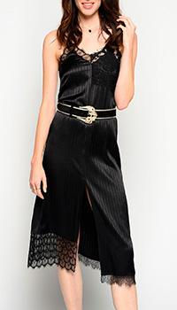 Черное платье Pinko с кружевом, фото