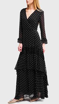 Платье Pinko в горошек с вырезом на ноге черного цвета, фото