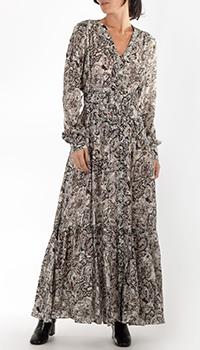 Длинное платье Pinko с растительным принтом из шелка, фото