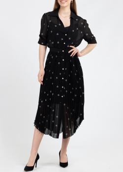 Черное платье Pinko с цветочной вышивкой, фото