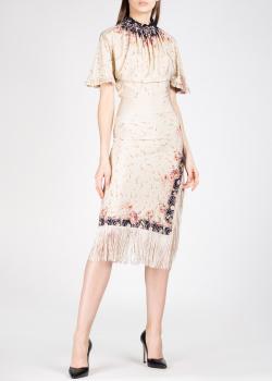 Бежевое платье Paco Rabanne с бахромой, фото
